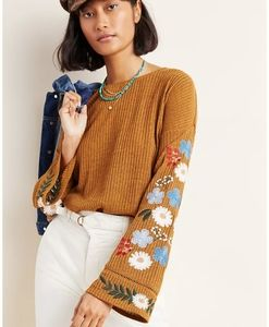 NWT Anthropologie Embroidered Sweayer